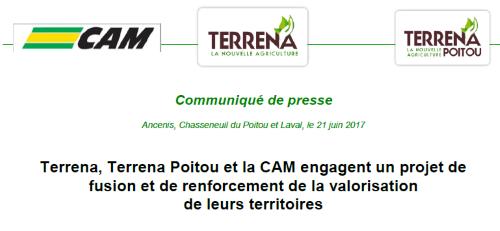 Terrena, Terrena Poitou et la CAM engagent un projet de fusion et de renforcement de la valorisation de leurs territoires