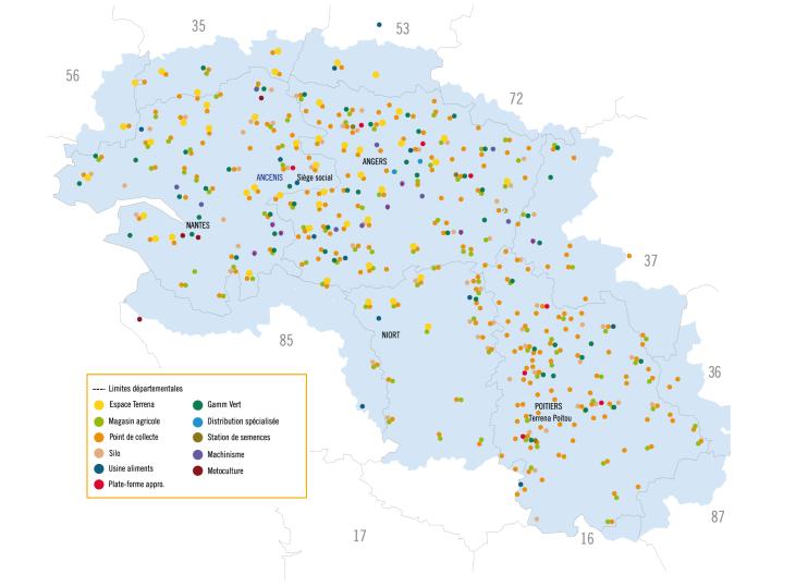 Plus de 470 sites sont implantés sur le territoire de Terrena